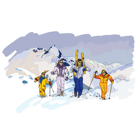Winter vector illustration with skiers