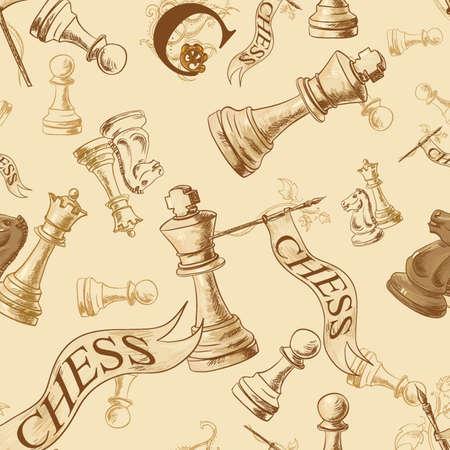 Wektor bez szwu deseń z szachami Ilustracje wektorowe