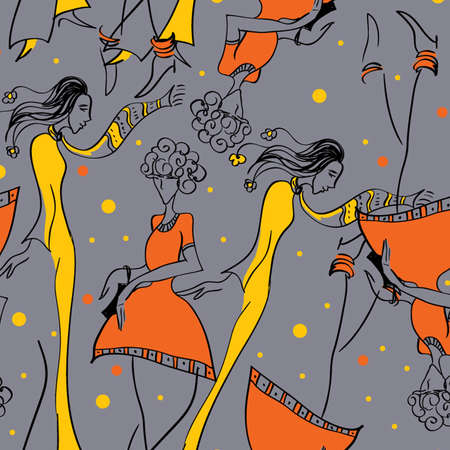 Fashionable Seamless vector pattern with girls