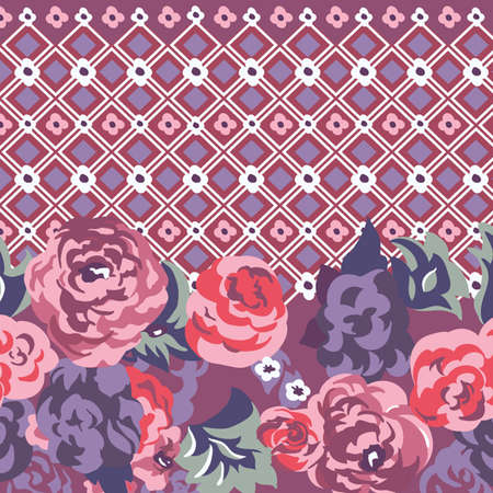 Lane seamless vector pattern with roses and daisies  Vector