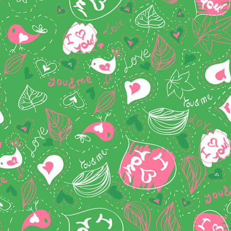 Green seamless vector pattern with hearts and birds Love