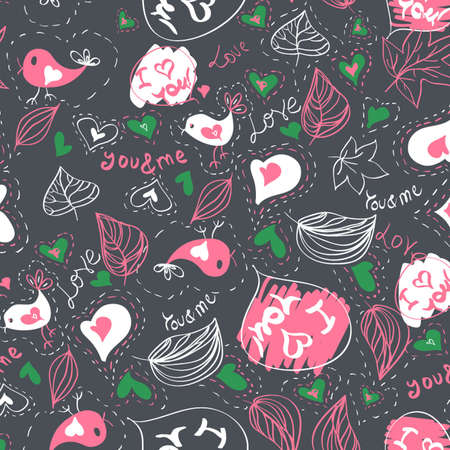 Seamless vector pattern with hearts and birds Love  Vector