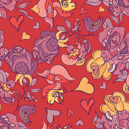 Vector seamless floral pattern with roses and birds of the heart  Vector