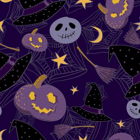 cartoon Halloween seamless pattern  Vector