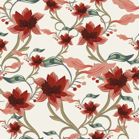 Floral seamless pattern, endless texture with flowers.  background for textile design.  Vector