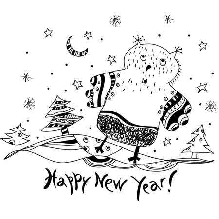 Happy New Year! vector sketch of the owl and the snowflakes in a cartoon style  Vector