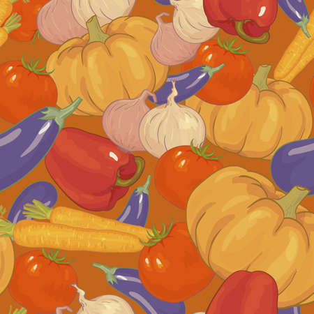 Seamless background with vegetables, pattern Thanksgiving  Vector