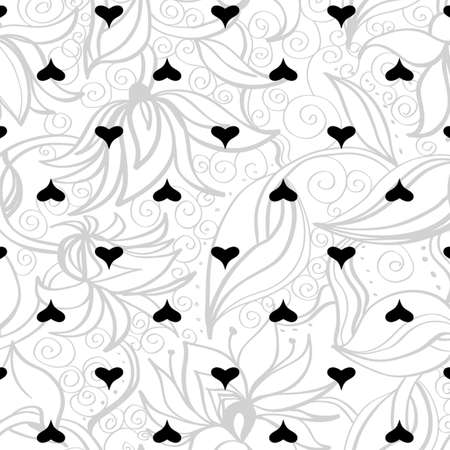 Seamless texture with flowers. Endless floral pattern. Background with hearts and flowers Illustration