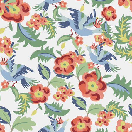 continuous: Floral seamless pattern, endless texture with flowers and birds.  background for textile design