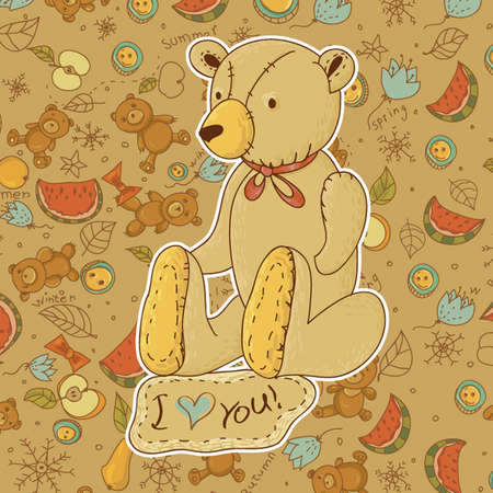Teddy bears with Hearts Vector