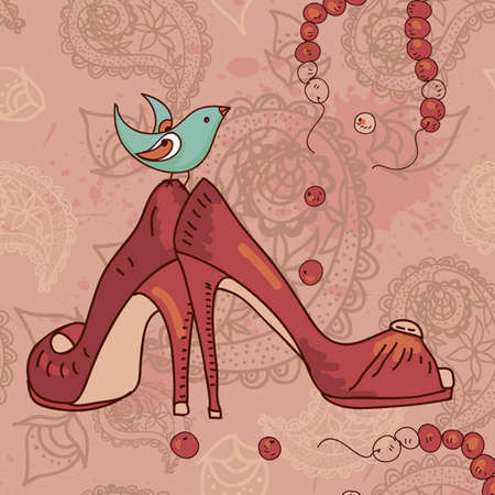 paisley pattern with shoes and a bird Fashionable modern wallpaper or textile  Vector