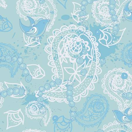 Seamless paisley or oriental rug geometric pattern with bird background, wallpaper  Vector