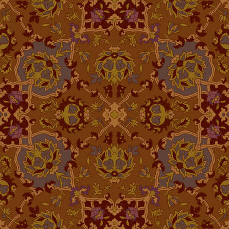 oriental rug: Seamless paisley or oriental rug vector geometric pattern, background, wallpaper  Illustration