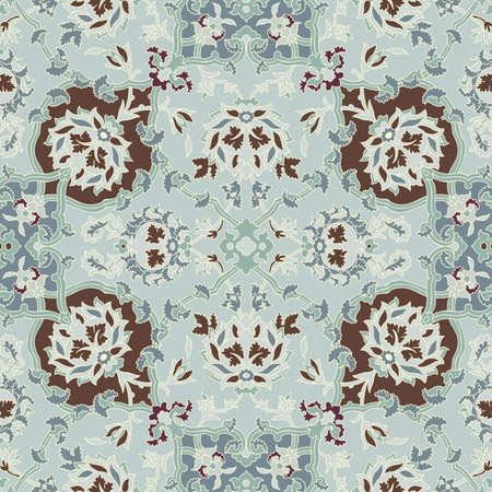 oriental rug: Seamless paisley or oriental rug  geometric pattern, background, wallpaper
