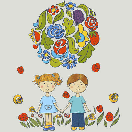 children holding hands: Friends  characters on the background of flowers Children holding hands