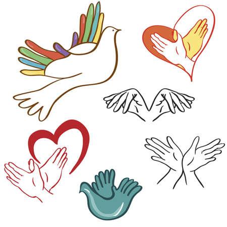 pigeons: Le jeu de caract�res du monde sous la forme d'une colombe, et les palmiers Le signe de la paix et l'amour - le c?ur et une colombe dans ses mains