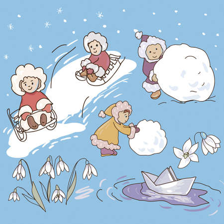 snowdrop: Collection of  illustrations of children playing. Children sculpt a snowman. Children ride on a sled. Paper Boat snowdrops.  Illustration