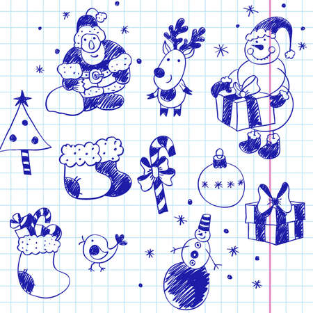 scribble christmas, funny doodles, hand drawn design elements Hand-Drawn Lettering and Sketchy Doodles on Lined Notebook Paper  Vector