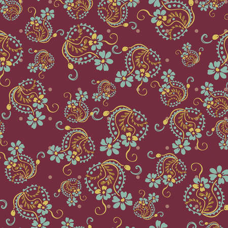 Seamless floral pattern. Flowers texture, paisley pattern Fashionable modern wallpaper or textile Vintage  Vector