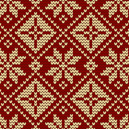 hosiery: seamless knit pattern, knitted texture Seamless Snowflake Knit Vector background for textile design. Wallpaper, background.  Illustration