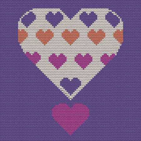 hinges: seamless knit pattern, knitted texture with heart Vector background for textile design. Wallpaper, background. Illustration