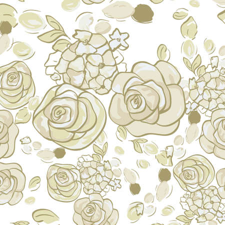 Vector seamless floral pattern with roses Vector background for textile design.  Vector
