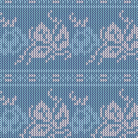 seamless knit pattern, knitted texture Seamless Snowflake Knit Vector background for textile design. Wallpaper, background.  Vector