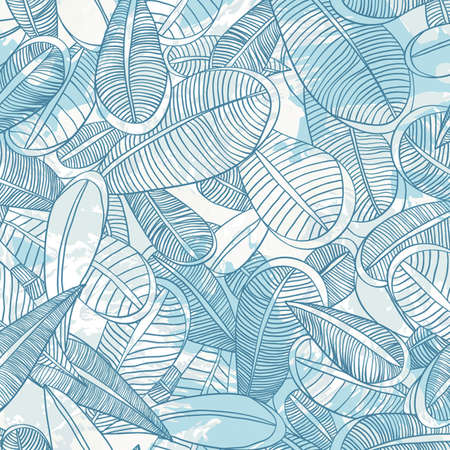 seamless pattern with feather Endless floral pattern.  Vector
