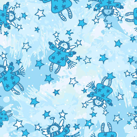 Vector seamless pattern with Christmas angels in a cartoon style   Vector