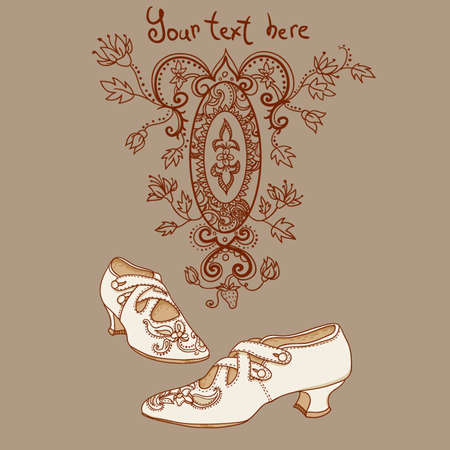 edwardian: Retro shoes in vintage style  Victorian era  Wallpaper, background  Vector background for textile design   Illustration