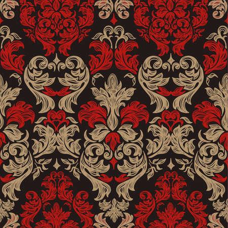 barroco: De fondo sin fisuras la vendimia Vector de fondo para el diseño textil de pantalla, fondo, modelo barroco