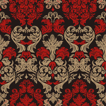 Seamless vintage background Vector background for textile design  Wallpaper, background, baroque pattern  Vector