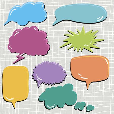 set of speech and thought blobs, scrapbook design elements vector