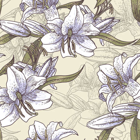 Seamless background with lilies in vintage style Vector