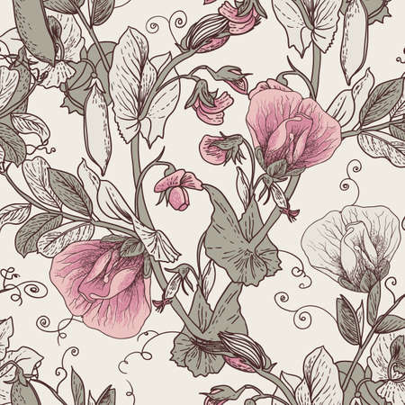 sweet pea: Seamless Floral Background with Blooming Peas