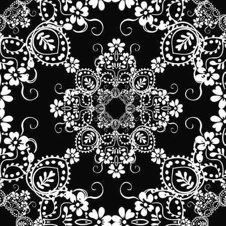 Classic decorative seamless  black-and-white texture Vector