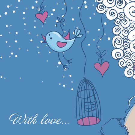 Cute background in cartoon style. Greeting card Vector