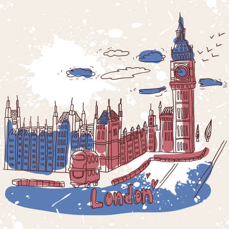 houses of parliament london: doodles drawing landscape Illustration
