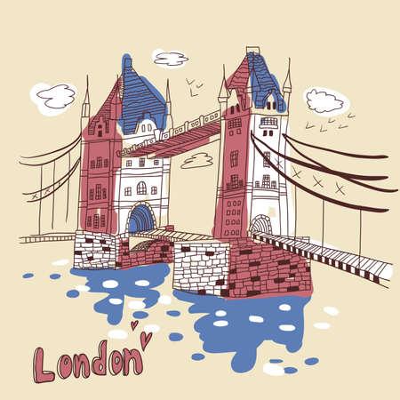 river thames: London  doodles drawing landscape