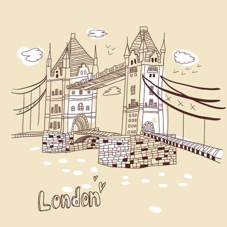 London  doodles drawing landscape Stock Vector - 19904148