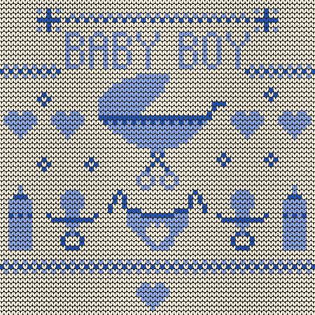 knitted background: Baby Boy de punto de fondo
