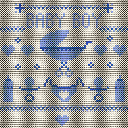 Baby Boy Knitted Background Stock Vector - 19904164