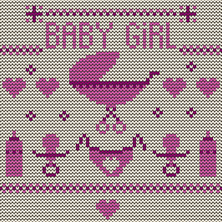 Baby Girl Knitted Background Stock Vector - 19904165