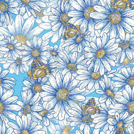 Summer floral pattern with daisies