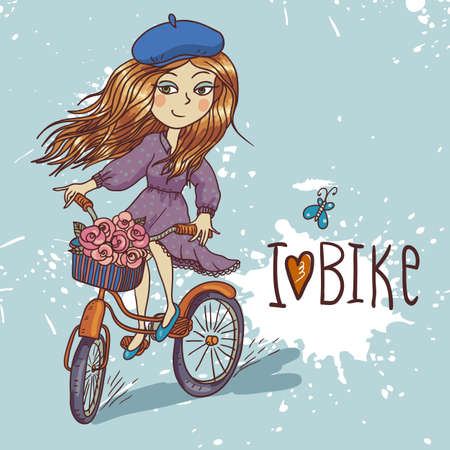 pretty girl with bicycle Illustration