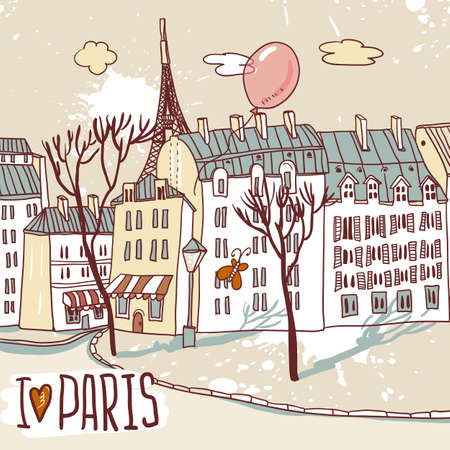 paris urban sketch Vector