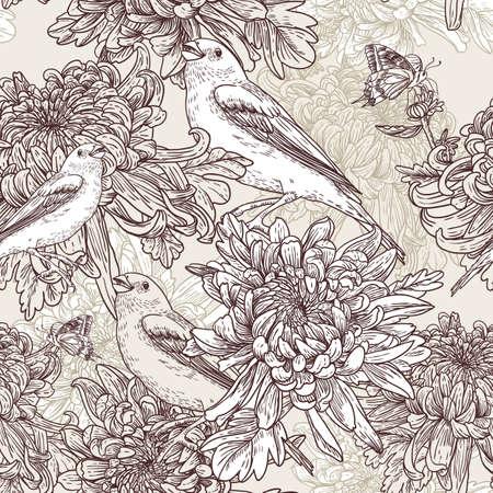 pajaro: Flores con ilustraci?n de aves