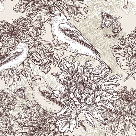 chrysanthemums: Flowers with bird illustration