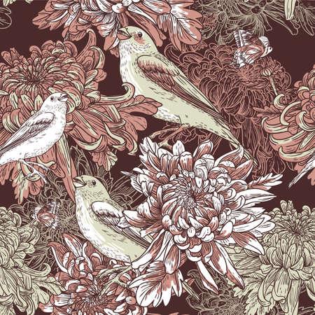 Flower garden with bird illustration