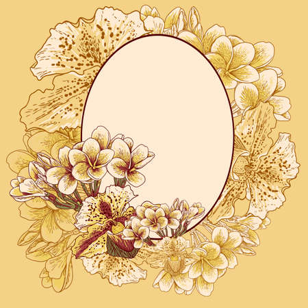 Retro frame with exotic flowers Vector